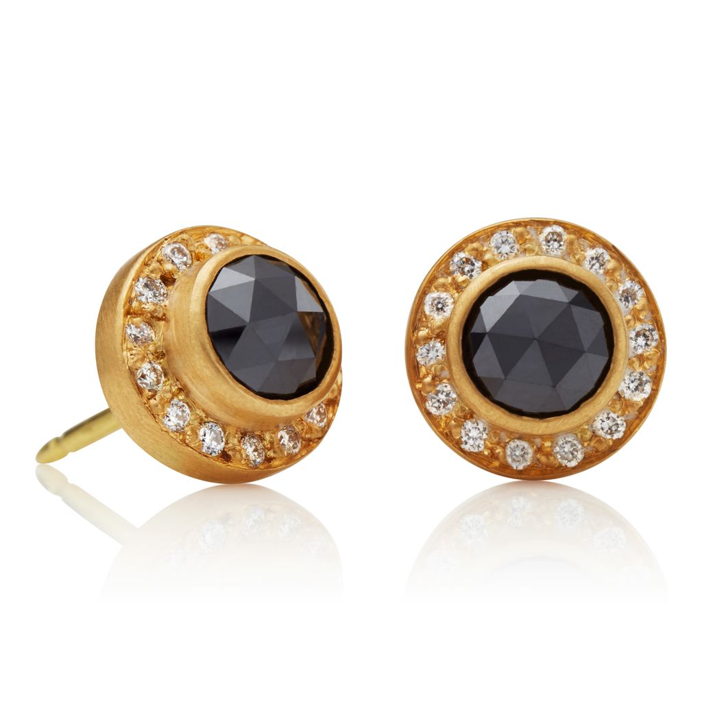 Sahara Studs with Black Diamonds
