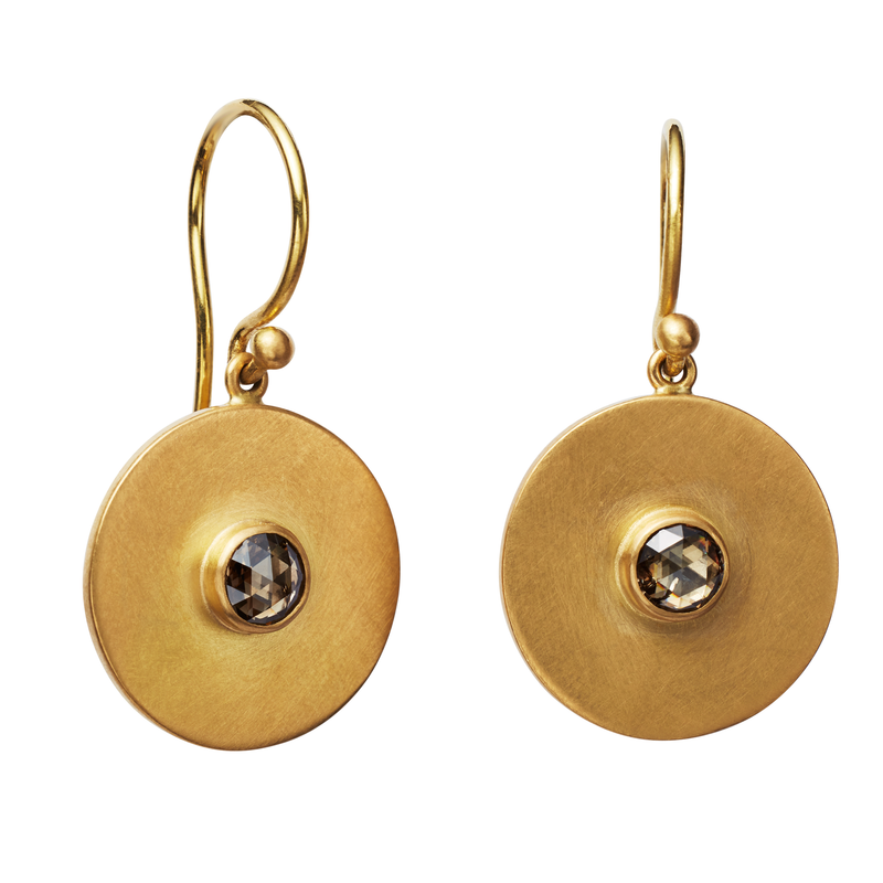 Small Disc Earrings with Champagne Diamonds