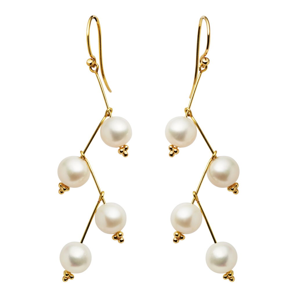 Cascade White Pearl Long Earrings