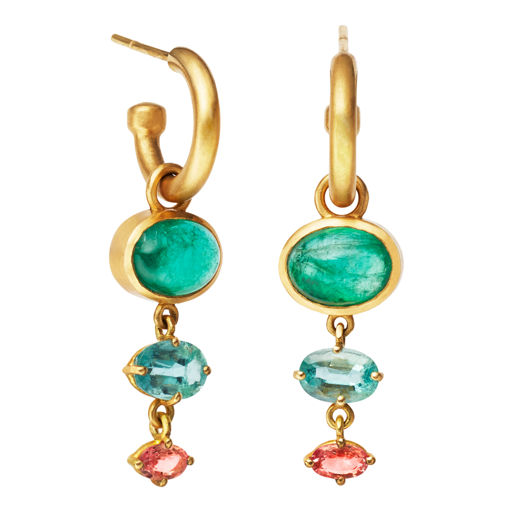One of a Kind Gold Earrings with Emeralds and Pink Sapphires