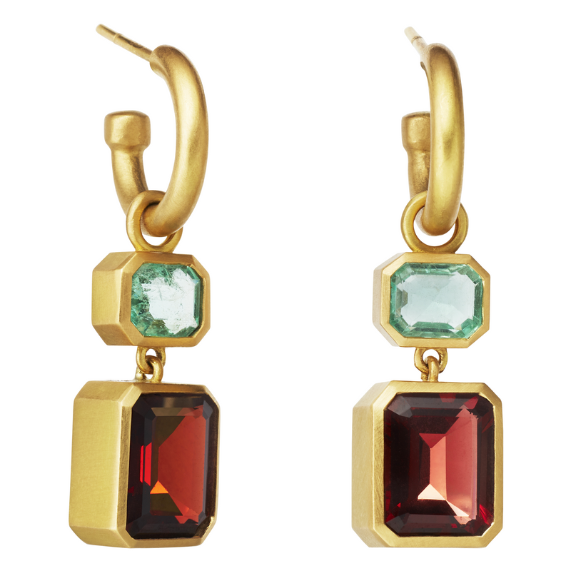 One of a Kind Earrings with Emeralds and Garnet