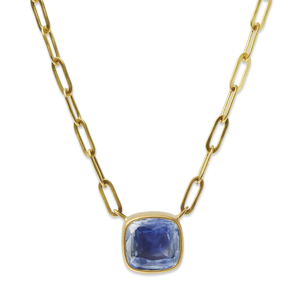 Rectangular Chain Necklace with Blue Sapphire