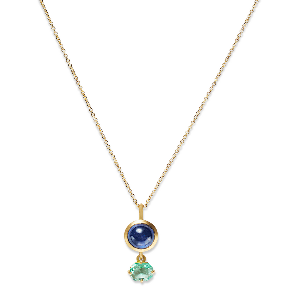 One of a Kind Necklace with Blue Sapphire and Emerald