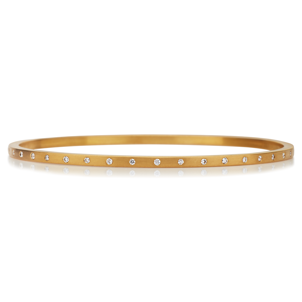Square Bangle with Spaced Diamonds in 20KPG