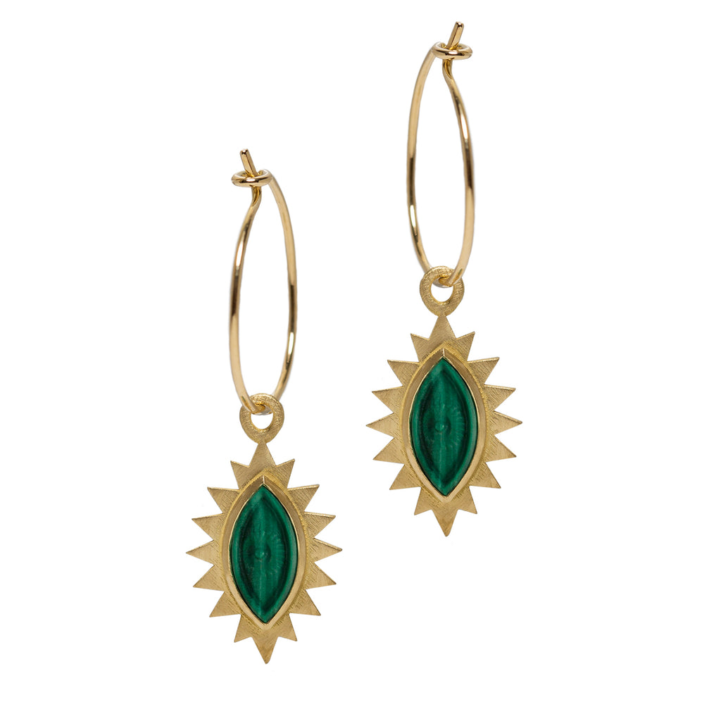 Greek Eye Carved Drop Earrings
