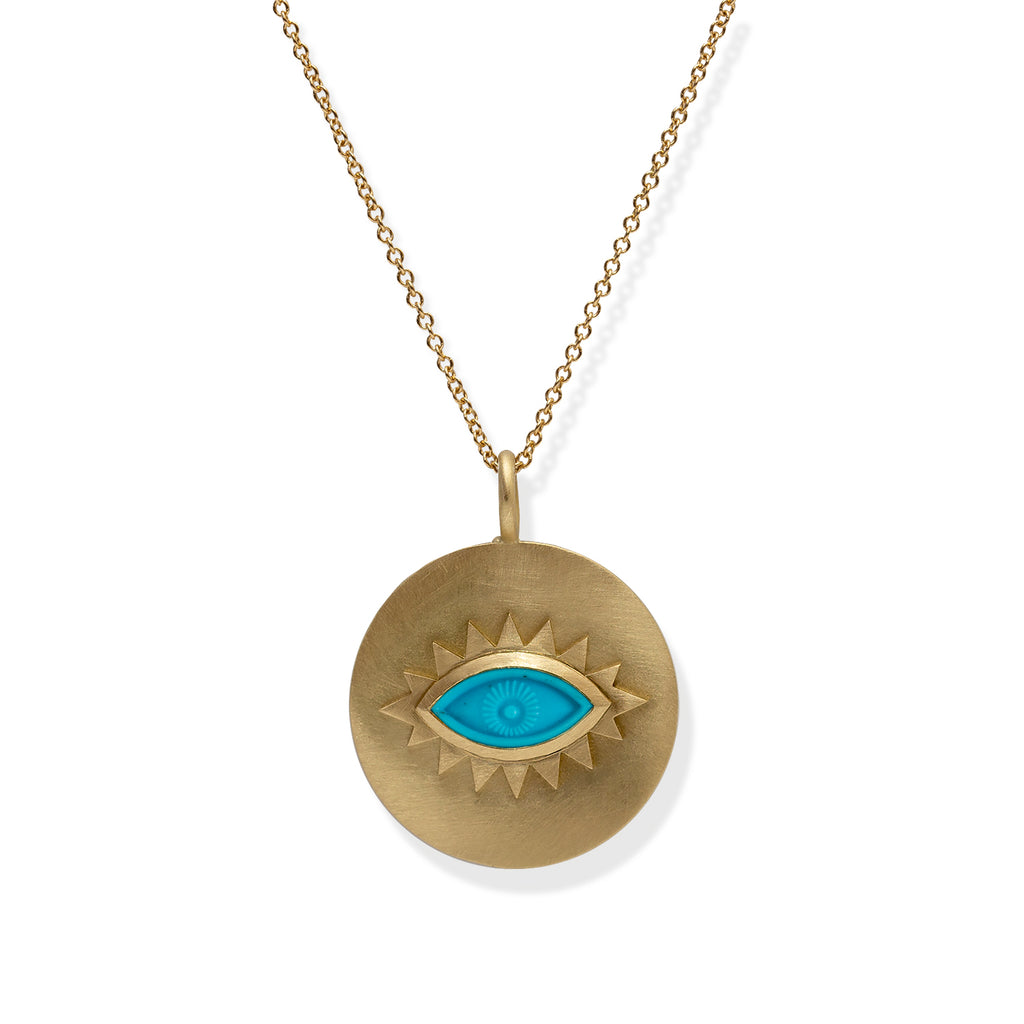 Greek Eye Disc Pendant