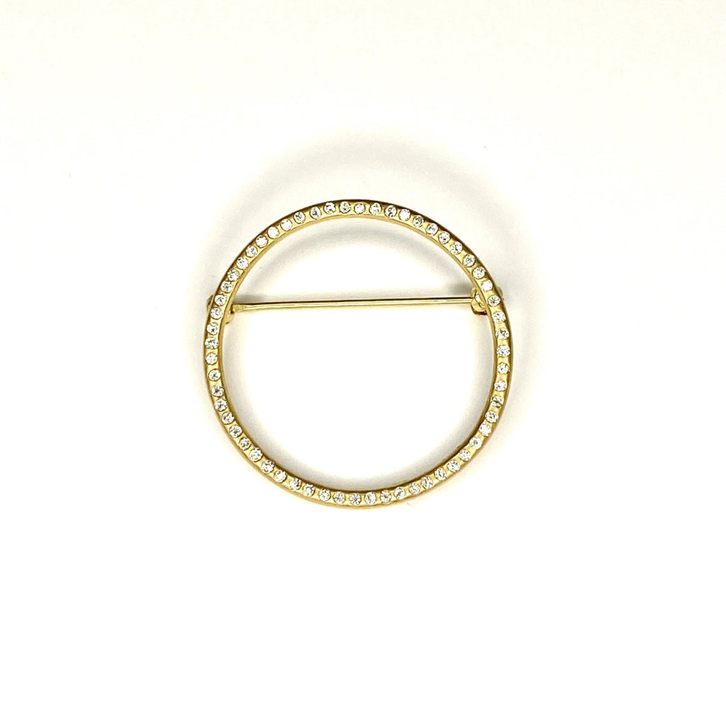 Circle Pin with Diamonds