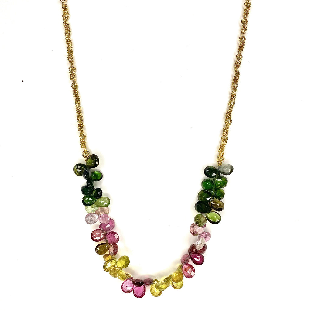 Ruffle Necklace with Multi-Colored Tourmaline