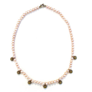Pink Freshwater Pearl Strand with 18k White Gold Daisy Elements