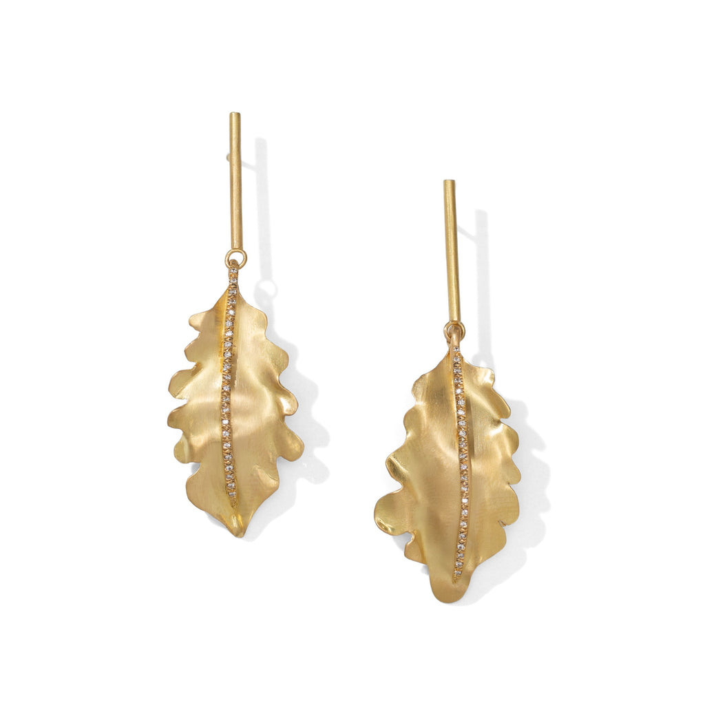 Oak Leaf Earrings with Diamonds