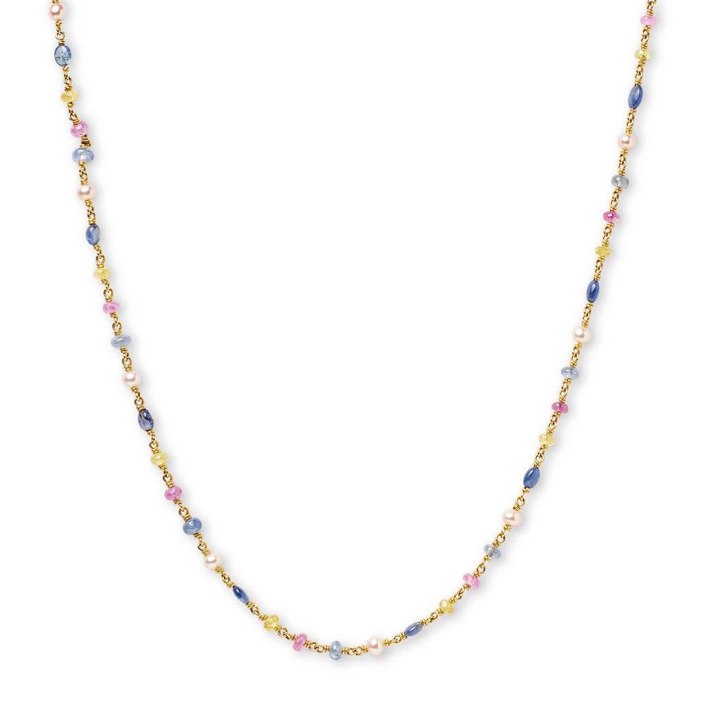 Isabella Necklace with Multi-Colored Sapphires in 20K Peach Gold