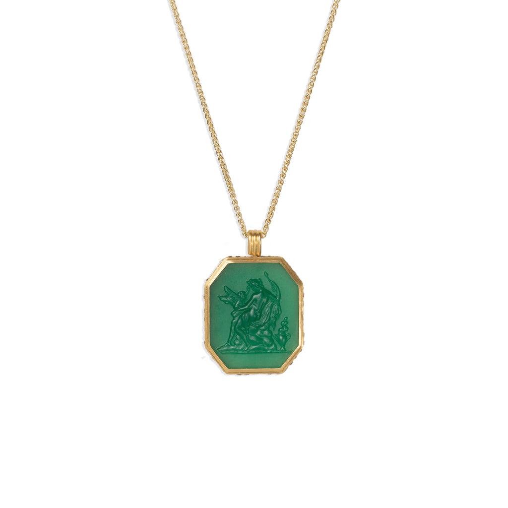Aphrodite & Cupid Carved Green Chalcedony Hexagon Pendant