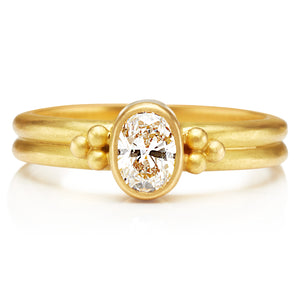 Diamond Penta Ring in 20K Peach Gold