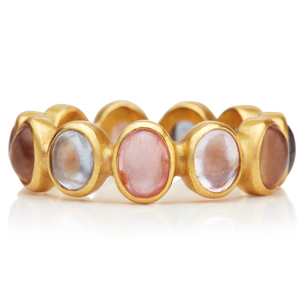 Renaissance Ring with Cabochon Oval Sapphires in 20K Peach Gold