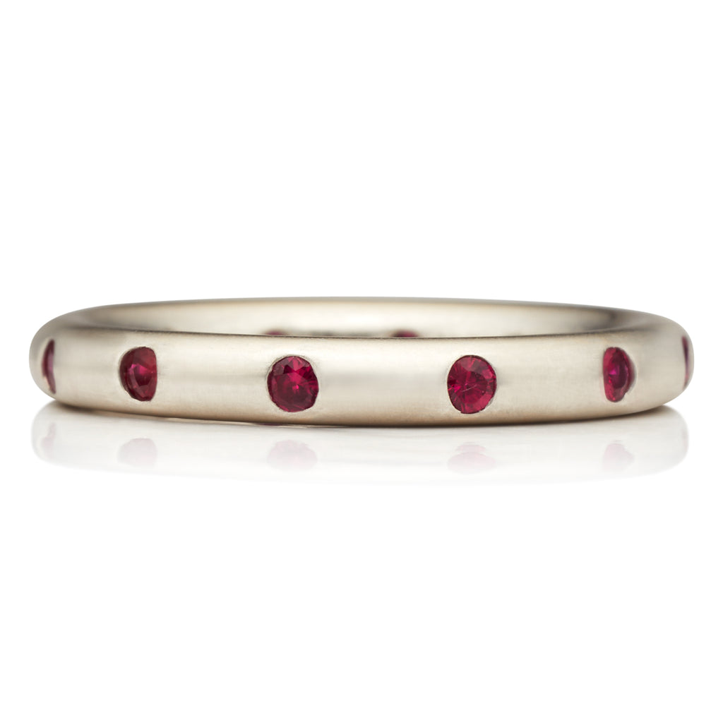 Round Ring with Rubies 18K White Gold