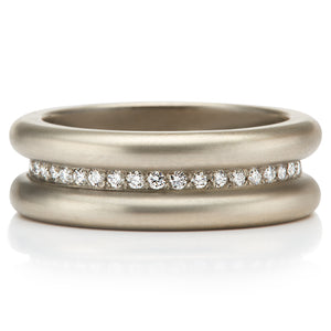Shimmer Band with Diamonds in 22KAG