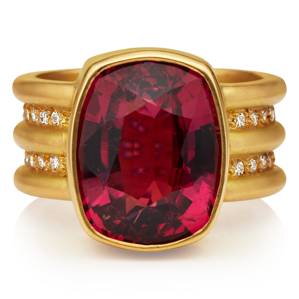 Double Shimmer Ring with Rubelite