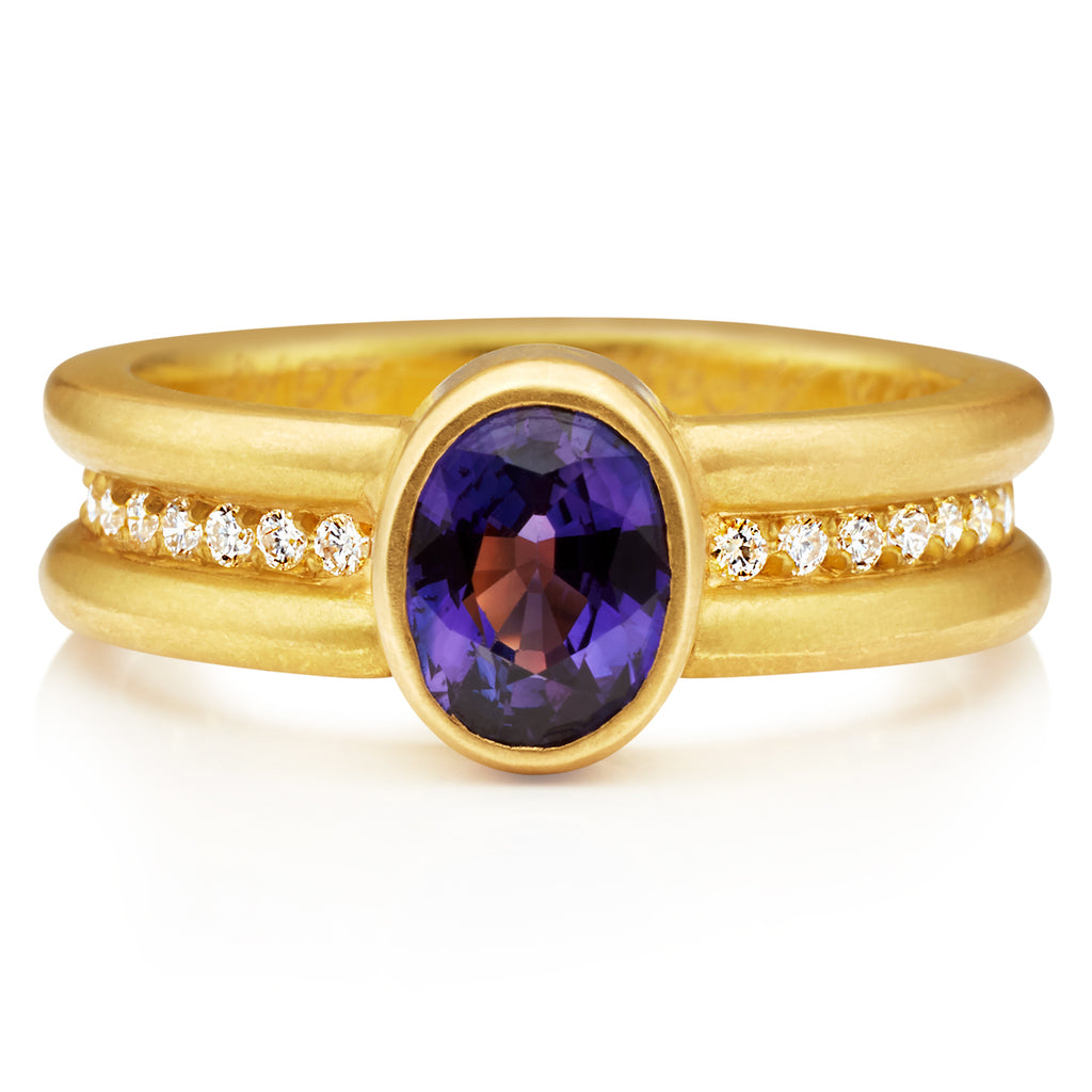 Shimmer Mini Ring with Purple Sapphire in 20K Peach Gold