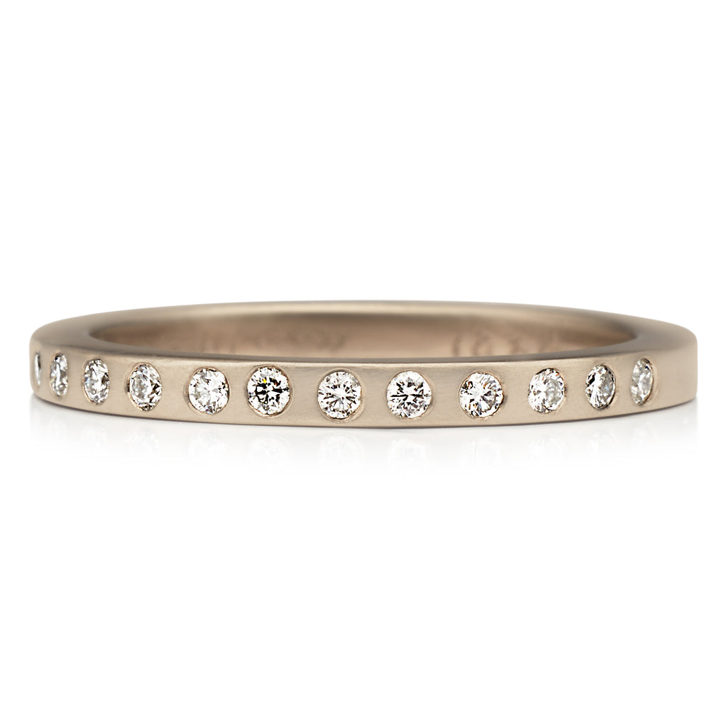 Thin Square Ring with Diamonds