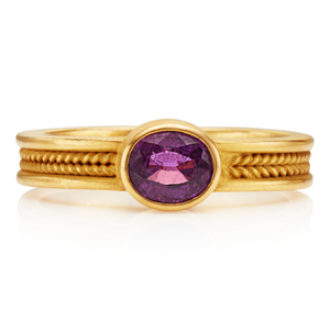 Narrow Braid Ring with Magenta Sapphire