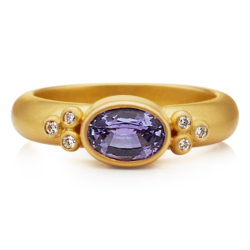 Tania Purple Sapphire Ring in 20K Peach Gold