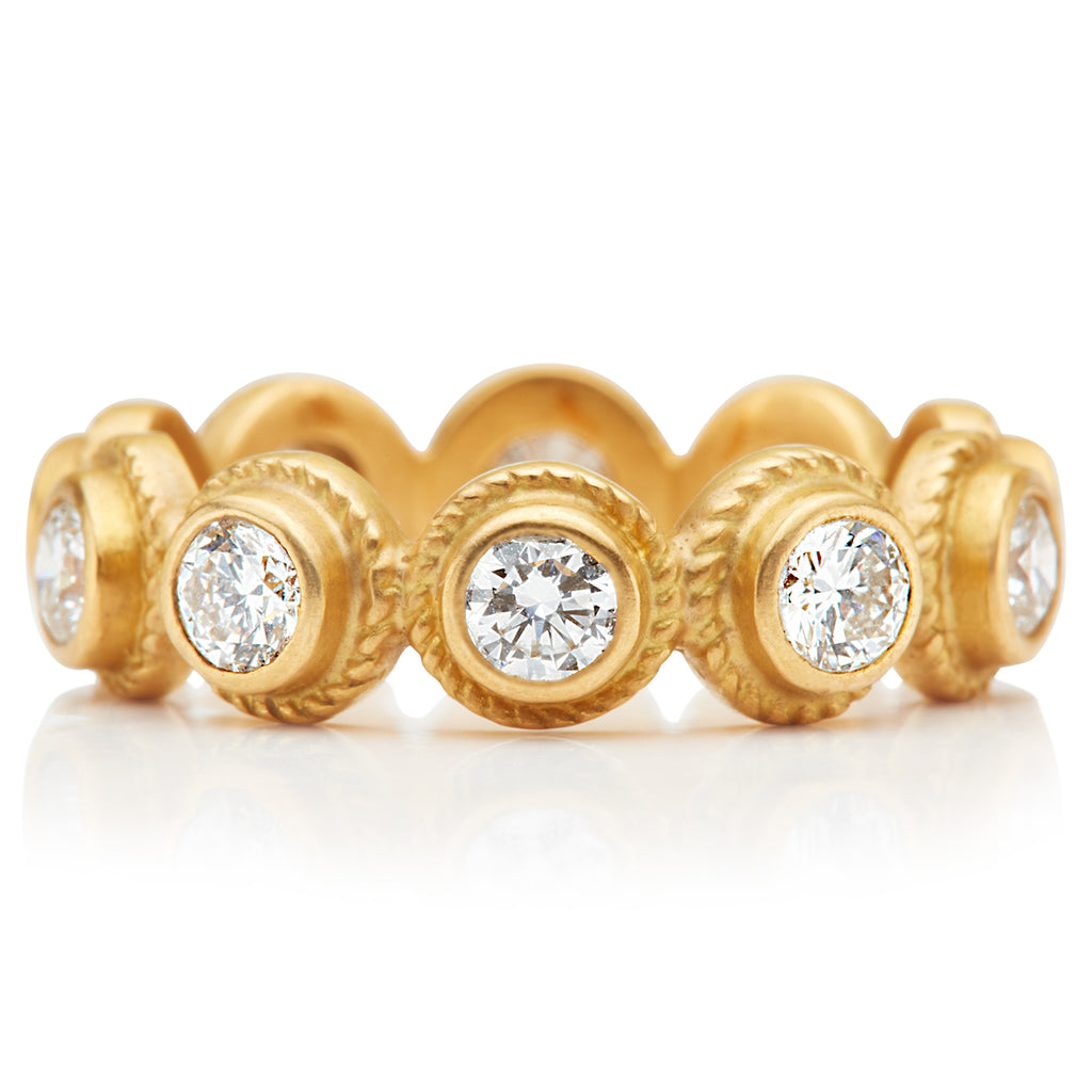 Twisted Renaissance Diamond Ring in 22K Apricot Gold