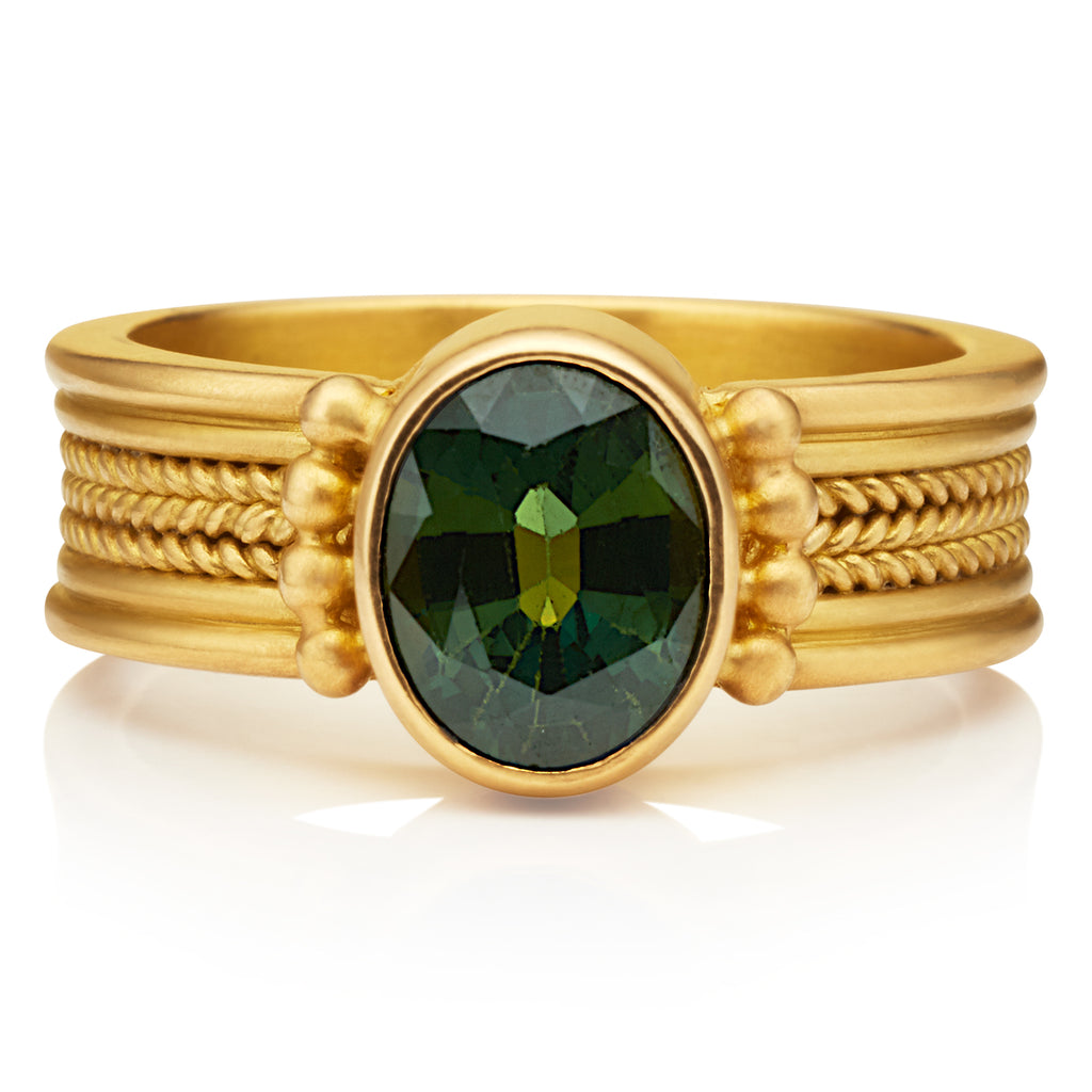 Regular Green Sapphire Braid Ring
