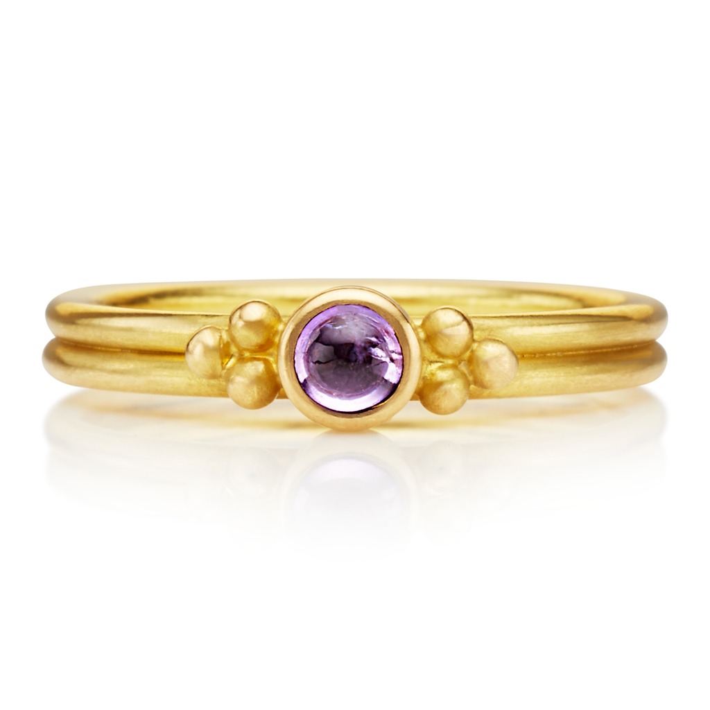Dyan Purple Sapphire Ring in 20K Peach Gold