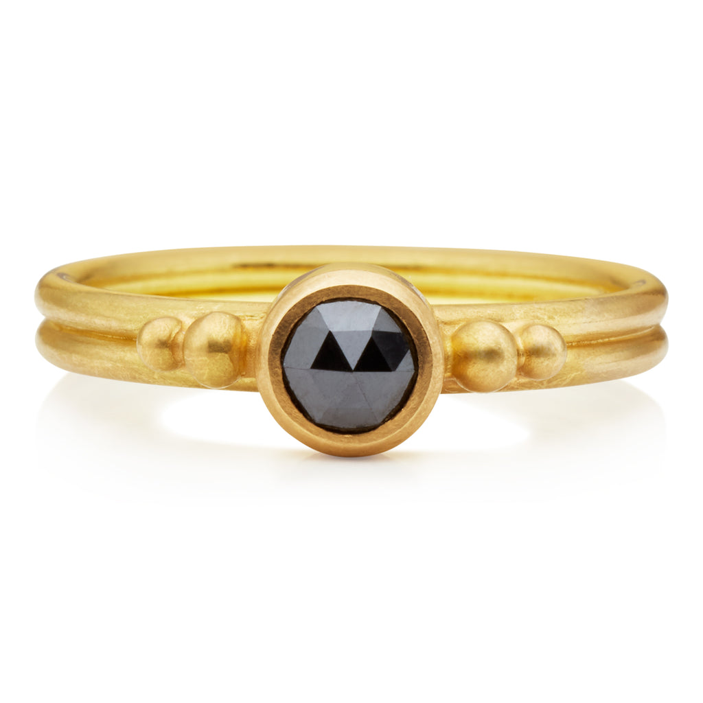 Dyan Black Diamond Ring in 20K Peach Gold