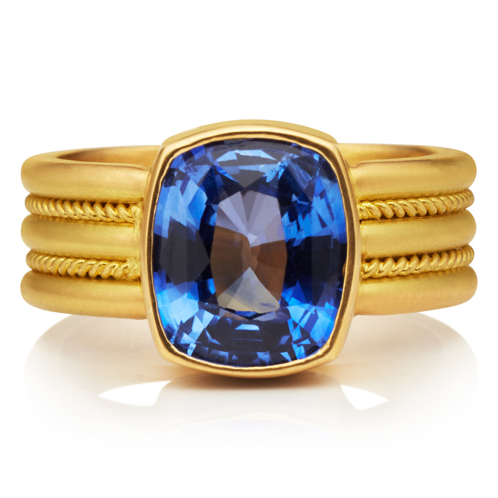 Blue Sapphire Alternating Braid Ring