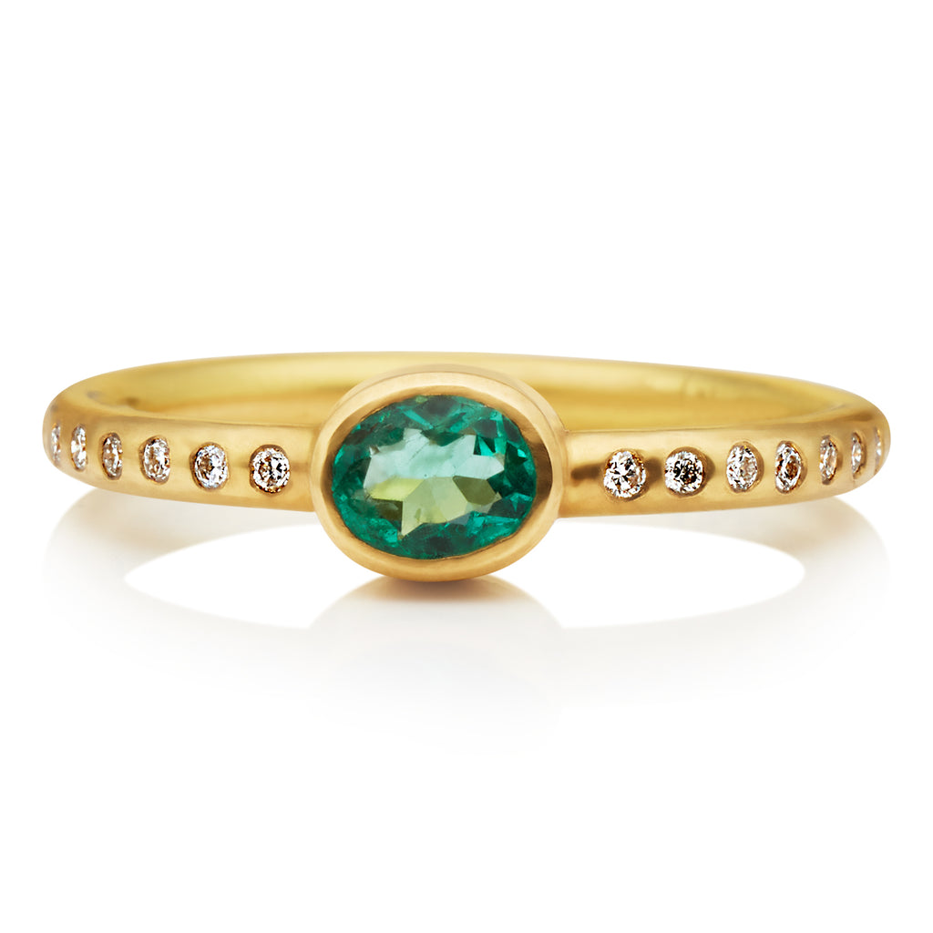 Hoopstock Emerald Ring in 20K Peach Gold