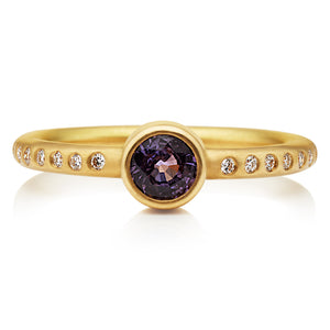 Hoopstock Purple Sapphire Ring in 20K Peach Gold