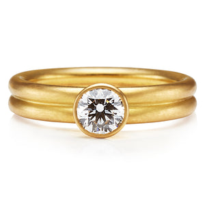 Tiny Leslie White Diamond Ring in 20K Peach Gold