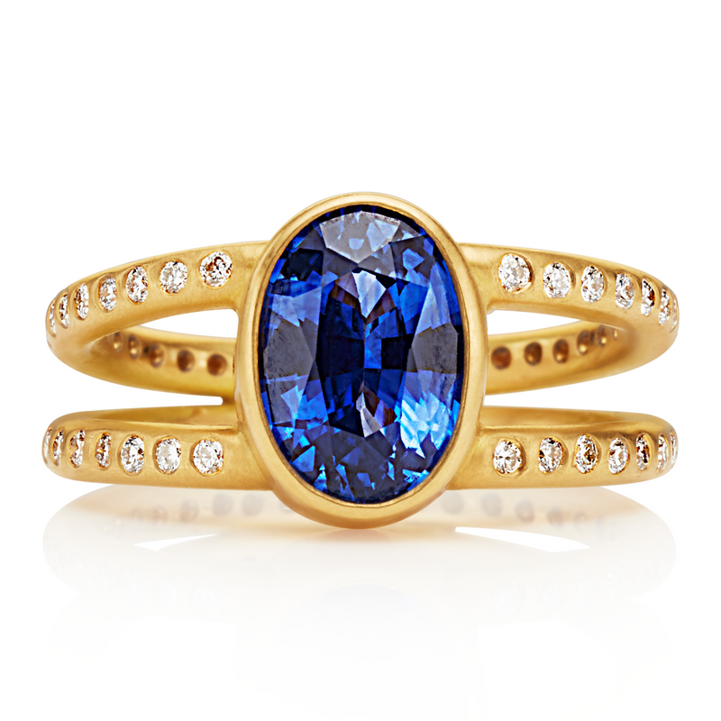 Lightdance Ring with Blue Sapphire in 20K Peach Gold