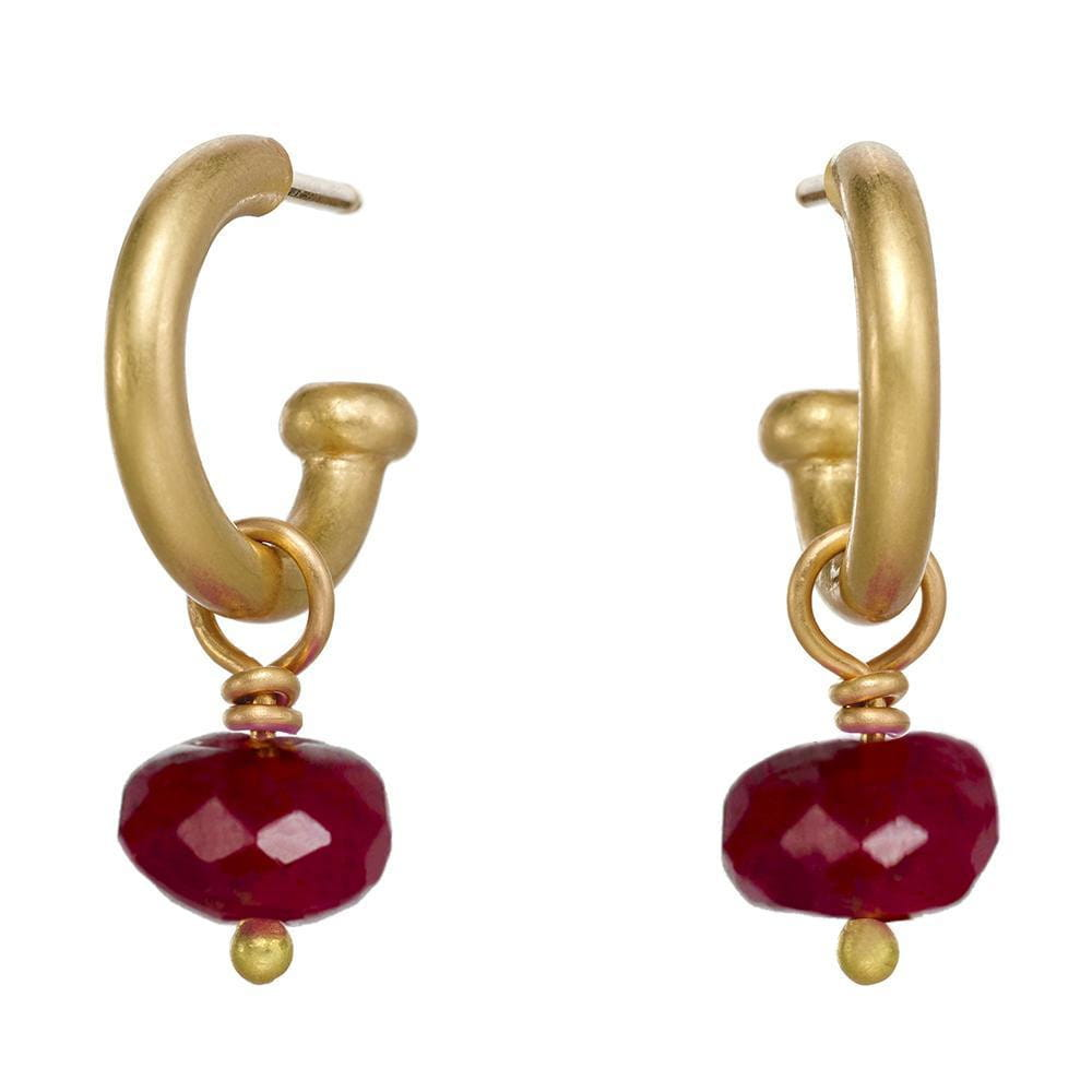Baby Hoops with Ruby Drops
