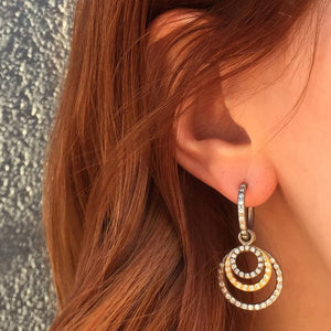Diamond Hoops with Tiny Diamond Loops in 18KWG