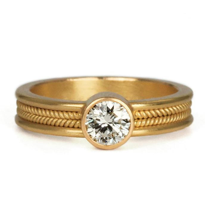 Narrow Braid Ring with Diamond