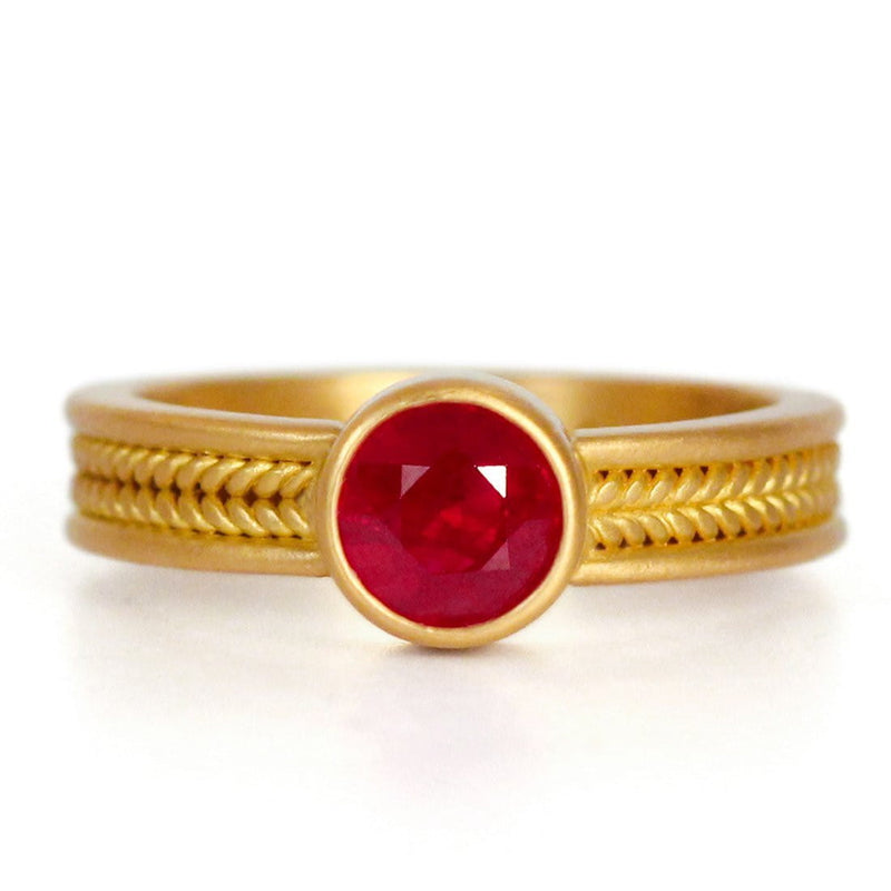 Narrow Braid Ring with Burma Ruby