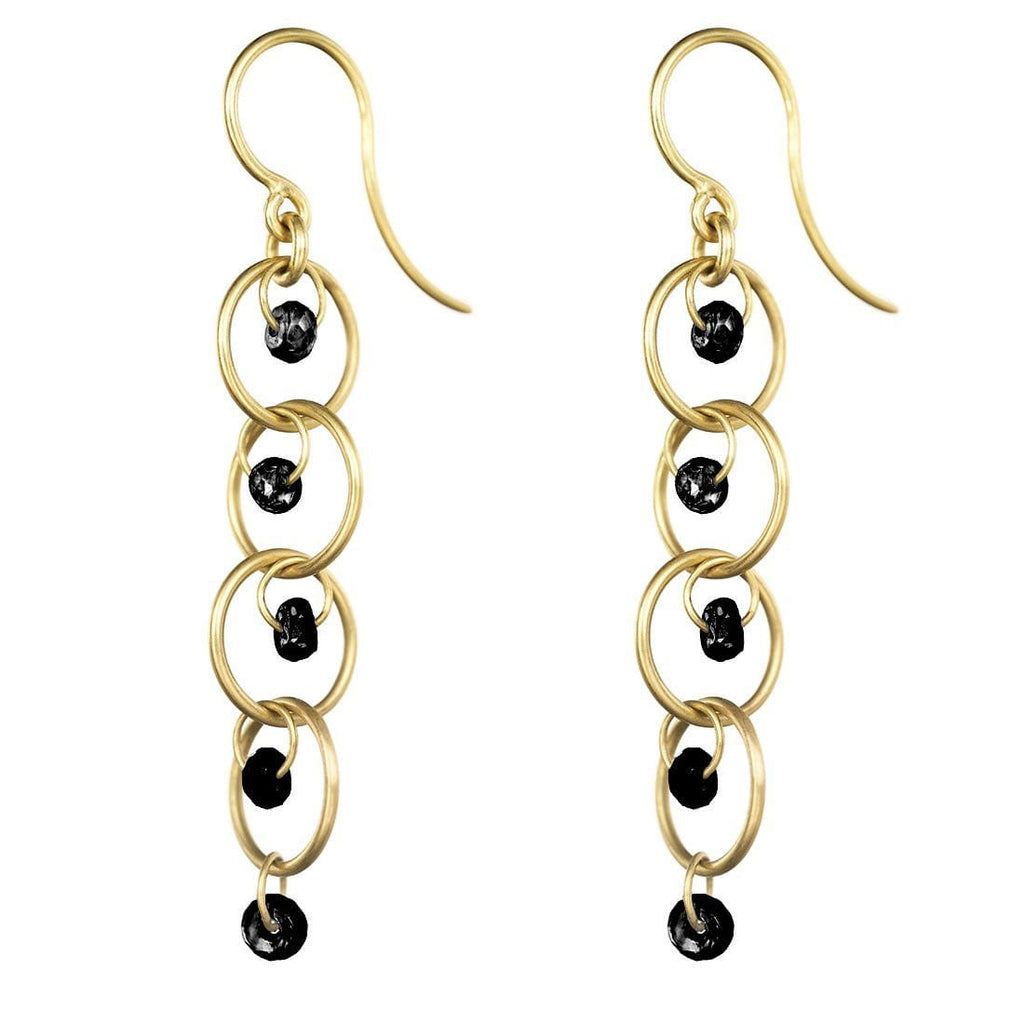 Rapunzel Earrings with Black Diamonds