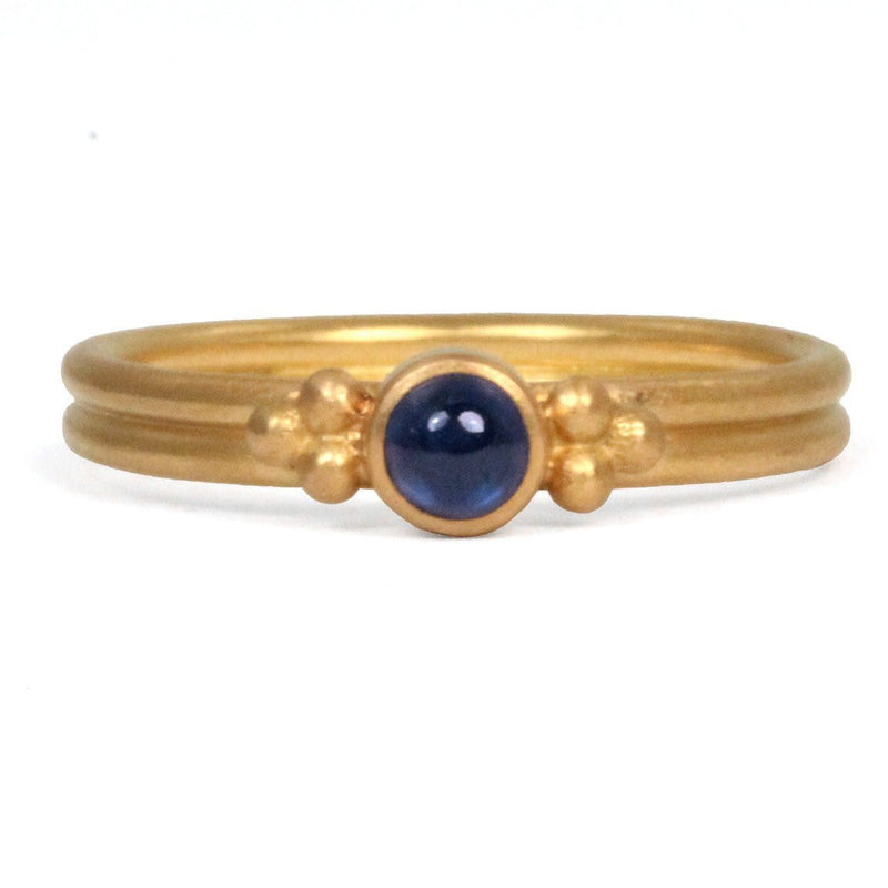 Dyan Ring with Cabochon Blue Sapphire