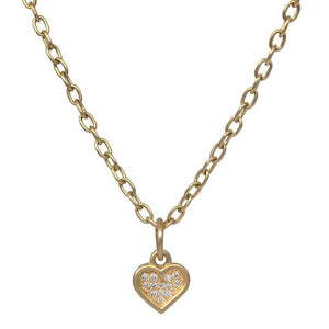 Pave Heart Chain Necklace