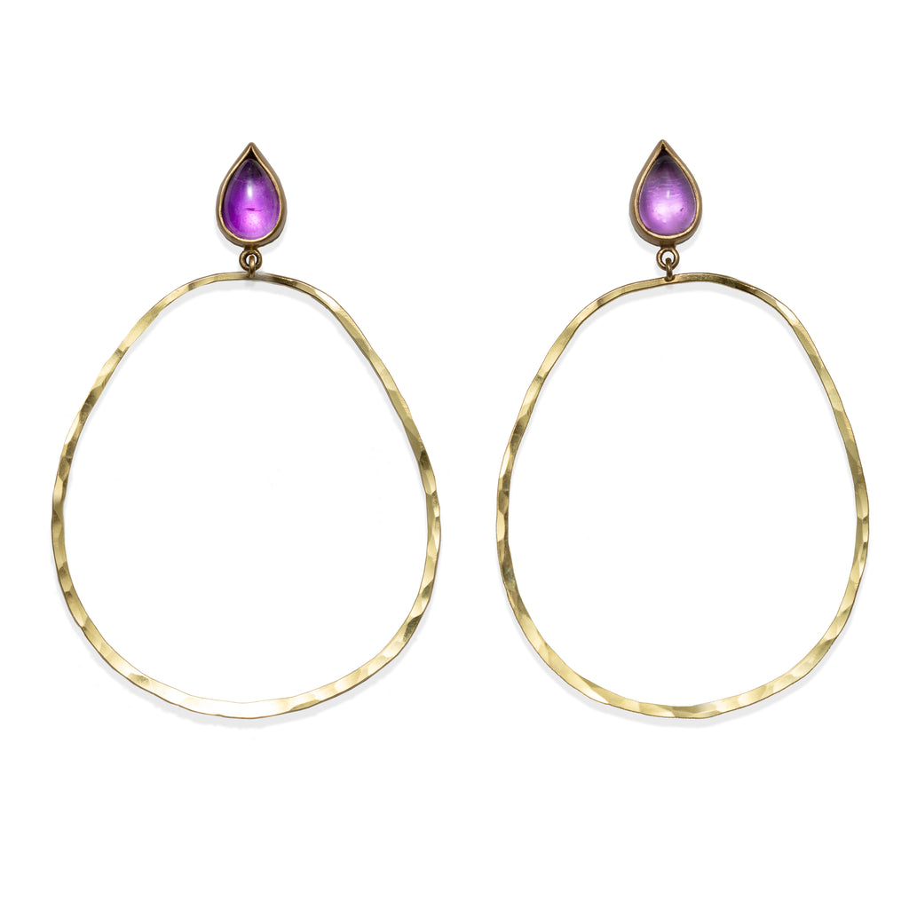 Hammered Amethyst Hoops