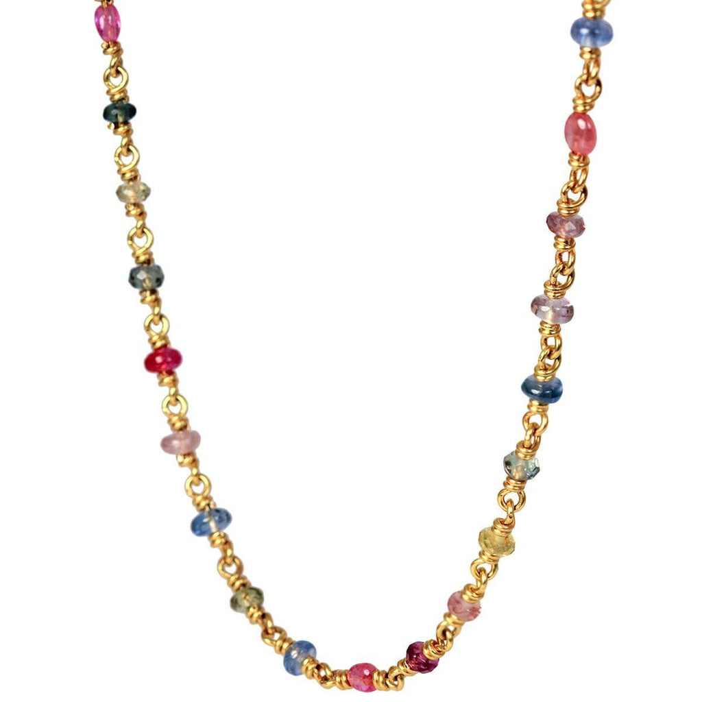 Isabella Necklace in 20k Peach Gold and Multi-Colored Sapphires
