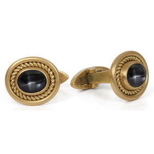 Single Braid Cufflinks with Star Sapphires