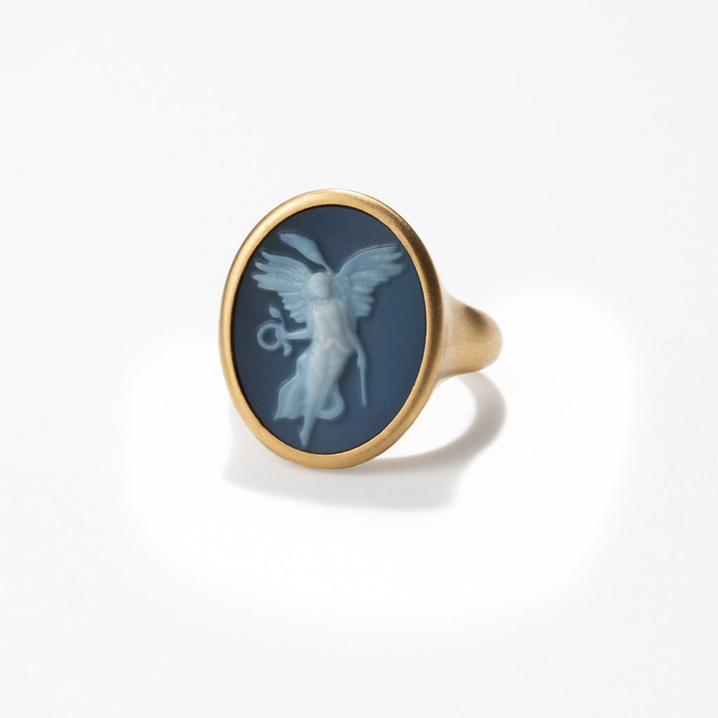Nike Carved Agate Cameo Ring