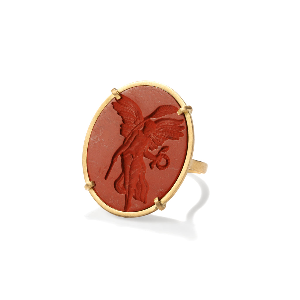 Nike Carved Jasper Intaglio Ring
