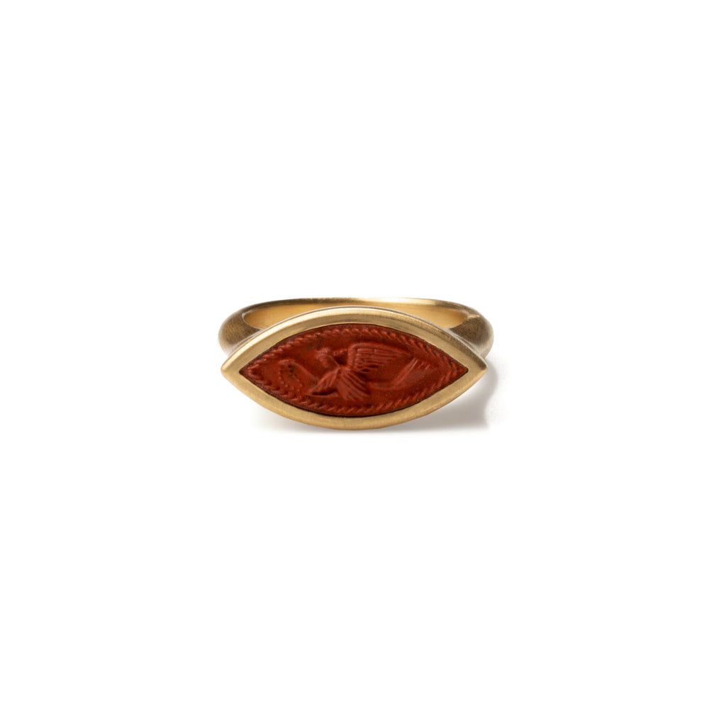 Flying Nike Carved Jasper Signet Intaglio Navette Ring