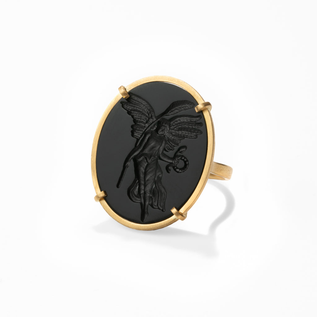 Nike Carved Nephrite Intaglio Ring