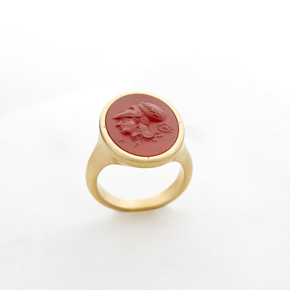 Athena Carved Carnelian Signet Ring