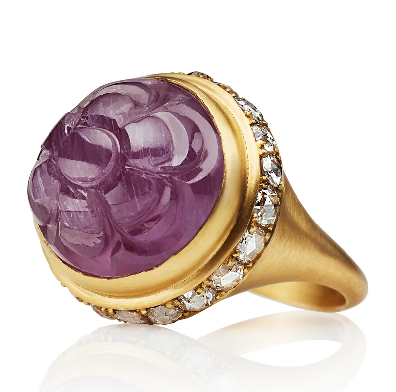 One Of a Kind Dark Pink Sapphire Ring